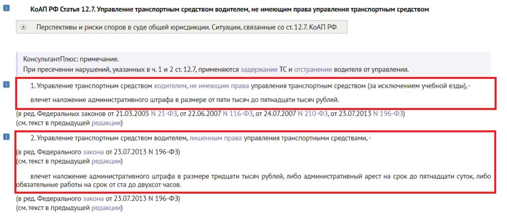 Это выдержка из статьи 12.7 КоАП РФ. По ней накажут водителя, не получавшего прав, либо лишенного их по суду.