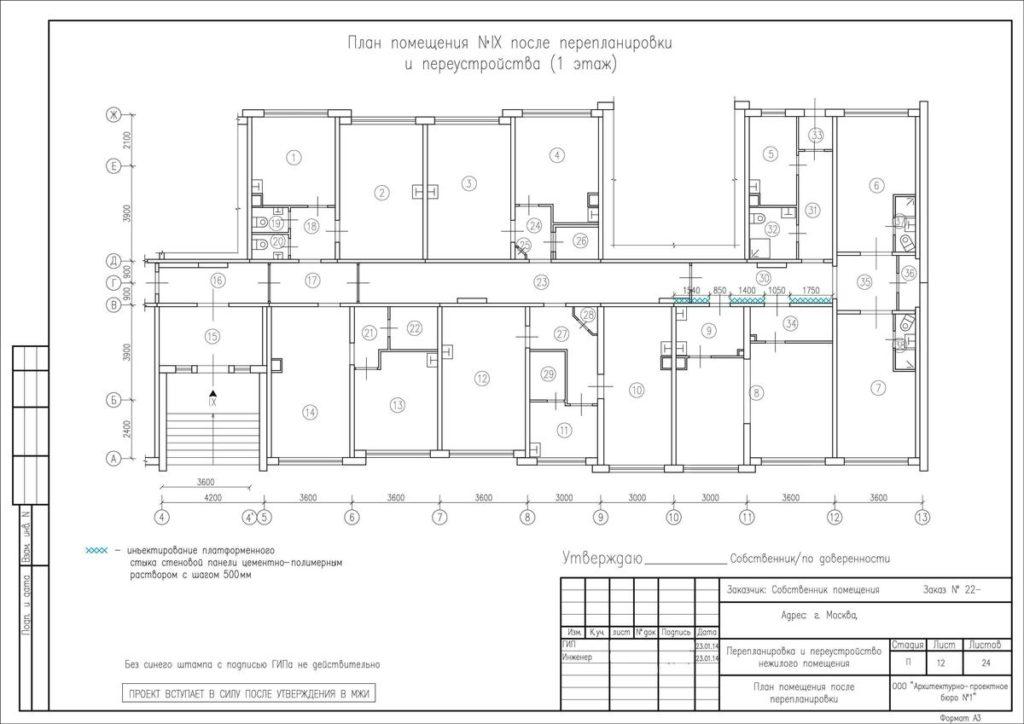 Для проведения строительных работ нужно заказать проект перепланировки или реконструкции, согласовать его в муниципальных органах.